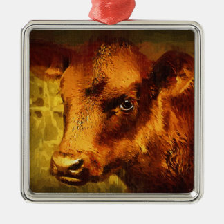 Brown Eyed Girl - Cow Oil Painting Metal Ornament