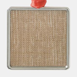 Brown fabric Silver-Colored square decoration