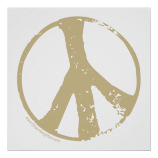 Brown Faded, Grunge Style Peace Sign
