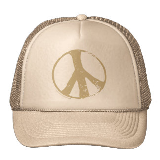 Brown Faded, Grunge Style Peace Sign Cap