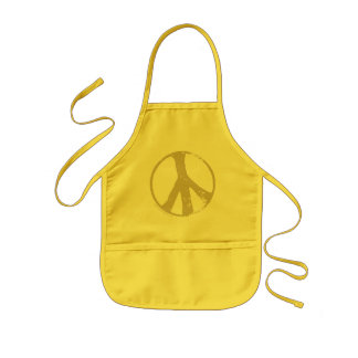 Brown Faded, Grunge Style Peace Sign Kids Apron