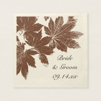 Brown Fall Maple Leaf Stamp Wedding Paper Napkins