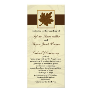 brown fall Wedding program Personalized Rack Card