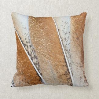 Brown Fanned Turkey Feather Design Cushion