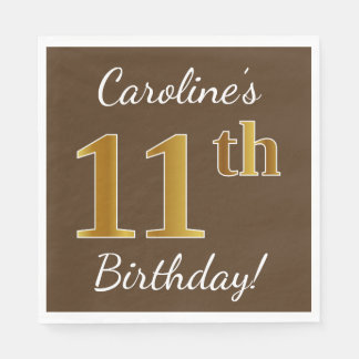 Brown, Faux Gold 11th Birthday + Custom Name Disposable Serviette