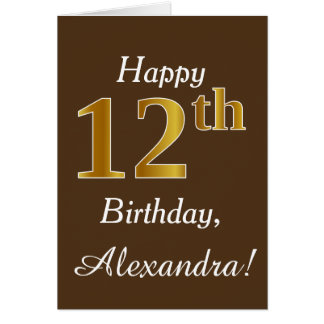 Brown, Faux Gold 12th Birthday + Custom Name Card
