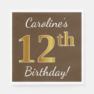 Brown, Faux Gold 12th Birthday + Custom Name Paper Napkin