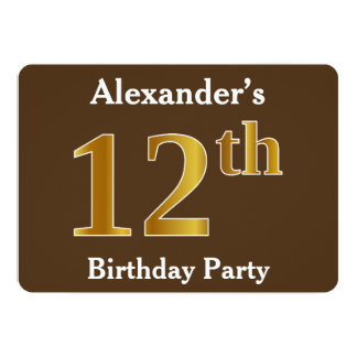 Brown, Faux Gold 12th Birthday Party; Custom Name Card