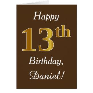 Brown, Faux Gold 13th Birthday + Custom Name Card