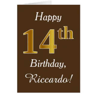Brown, Faux Gold 14th Birthday + Custom Name Card