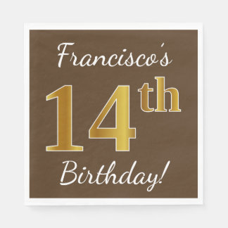 Brown, Faux Gold 14th Birthday + Custom Name Disposable Napkins