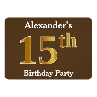 Brown, Faux Gold 15th Birthday Party; Custom Name Card