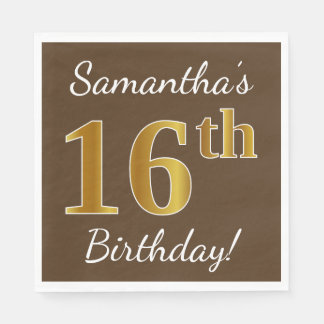 Brown, Faux Gold 16th Birthday + Custom Name Paper Napkin
