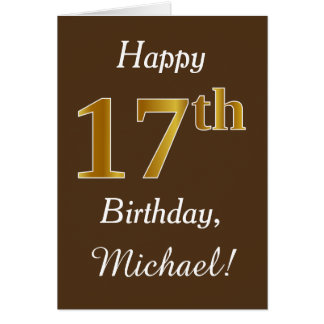 Brown, Faux Gold 17th Birthday + Custom Name Card