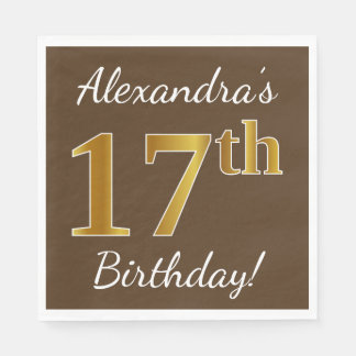 Brown, Faux Gold 17th Birthday + Custom Name Disposable Serviette