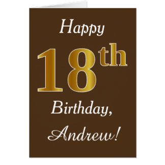Brown, Faux Gold 18th Birthday + Custom Name Card