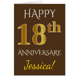 Brown, Faux Gold 18th Wedding Anniversary + Name Card