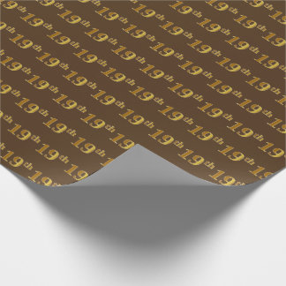 Brown, Faux Gold 19th (Nineteenth) Event Wrapping Paper