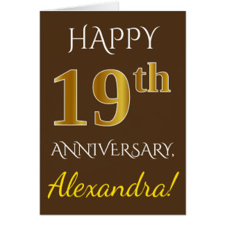 Brown, Faux Gold 19th Wedding Anniversary + Name Card