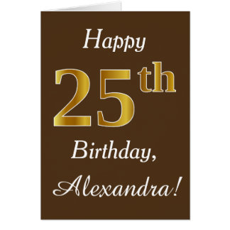 Brown, Faux Gold 25th Birthday + Custom Name Card