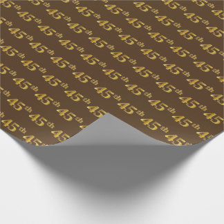 Brown, Faux Gold 45th (Forty-Fifth) Event Wrapping Paper