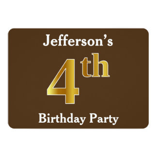 Brown, Faux Gold 4th Birthday Party; Custom Name Card