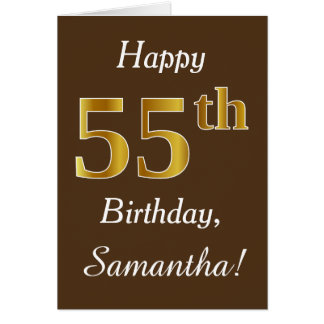 Brown, Faux Gold 55th Birthday + Custom Name Card