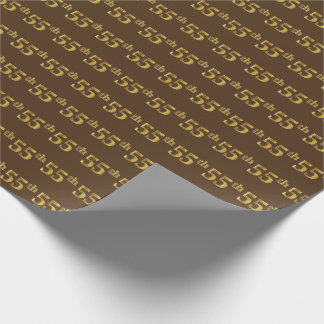 Brown, Faux Gold 55th (Fifty-Fifth) Event Wrapping Paper