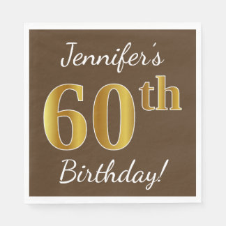 Brown, Faux Gold 60th Birthday + Custom Name Disposable Serviettes