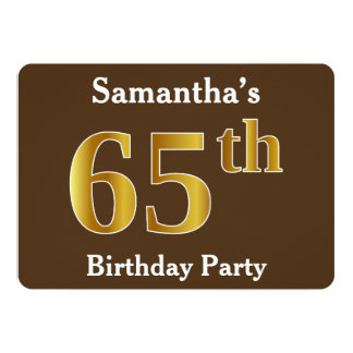 Brown, Faux Gold 65th Birthday Party; Custom Name Card