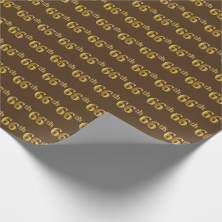 Brown, Faux Gold 66th (Sixty-Sixth) Event Wrapping Paper