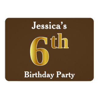 Brown, Faux Gold 6th Birthday Party; Custom Name Card
