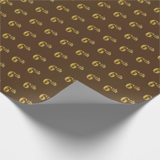 Brown, Faux Gold 6th (Sixth) Event Wrapping Paper