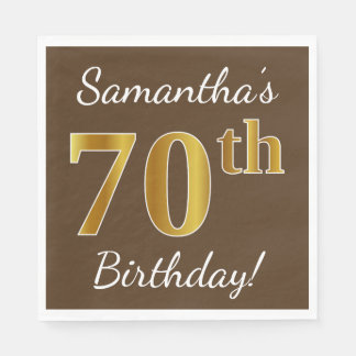 Brown, Faux Gold 70th Birthday + Custom Name Paper Napkins