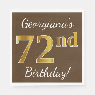 Brown, Faux Gold 72nd Birthday + Custom Name Paper Serviettes