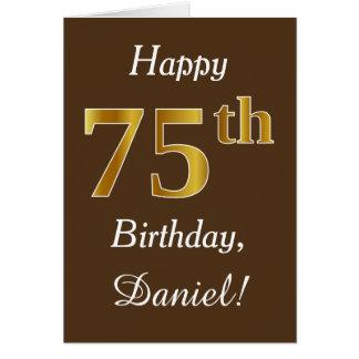 Brown, Faux Gold 75th Birthday + Custom Name Card