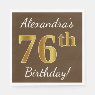 Brown, Faux Gold 76th Birthday + Custom Name Disposable Serviette