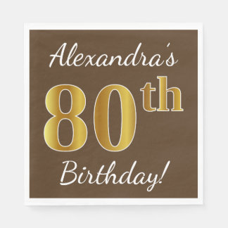 Brown, Faux Gold 80th Birthday + Custom Name Disposable Serviette