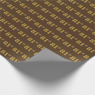 Brown, Faux Gold 81st (Eighty-First) Event Wrapping Paper