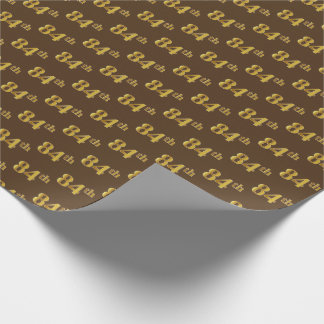 Brown, Faux Gold 84th (Eighty-Fourth) Event Wrapping Paper