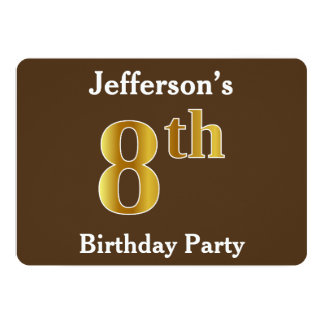 Brown, Faux Gold 8th Birthday Party; Custom Name Card