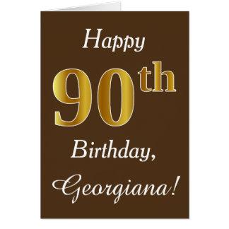Brown, Faux Gold 90th Birthday + Custom Name Card