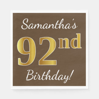 Brown, Faux Gold 92nd Birthday + Custom Name Disposable Napkin