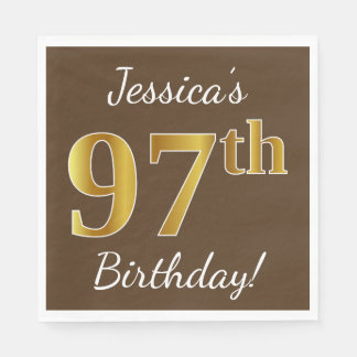 Brown, Faux Gold 97th Birthday + Custom Name Paper Napkin