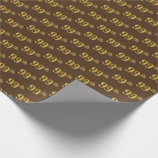 Brown, Faux Gold 99th (Ninety-Ninth) Event Wrapping Paper