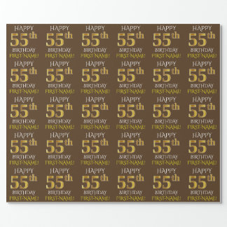 "Brown, Faux Gold ""HAPPY 55th BIRTHDAY"" Wrapping Paper"