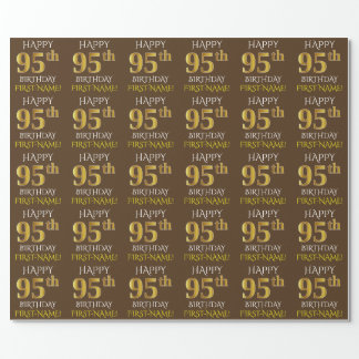"""Brown, Faux Gold """"HAPPY 95th BIRTHDAY"""" Wrapping Paper"""