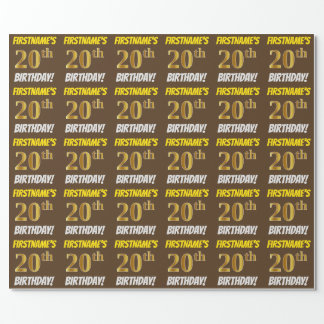 "Brown, Faux/Imitation Gold, ""20th BIRTHDAY"" Wrapping Paper"