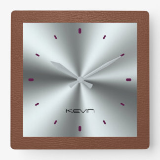 Brown Faux Leather & Metallic Stainless Steel Square Wall Clock
