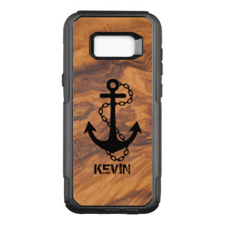 Brown Faux Wood & Black Nautical Boat Anchor OtterBox Commuter Samsung Galaxy S8+ Case
